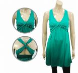 Wholesale Womens Ex Chainstore Tea Wrap Midi Dress Twisted Back Green